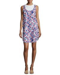 Jil Sander Round Neck Floral Print Dress White Blue Women's