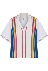 Rosie Assoulin Striped Knit And Poplin Shirt White