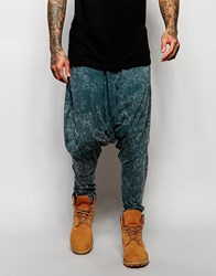Asos Extreme Drop Crotch Joggers In Lightweight Fabric In Blue Acid Wash Blue