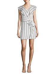 Collective Concepts Flutter Sleeve Striped V Neck Dress White