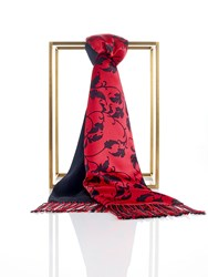 Shanghai Tang Silk Pashmina Scarf With Leaves Pattern Red