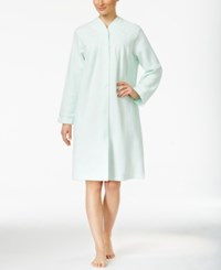Miss Elaine Zip Up Brushed Back Terry Short Robe Mint