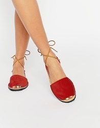 Park Lane Ankle Tie Suede Sling Flat Sandals Red Suede