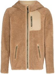 Yves Salomon Hooded Curly Shearling Jacket Brown
