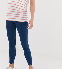 Asos Design Maternity Ridley High Waist Skinny Jeans In Rich Mid Blue Wash With Under The Bump Band