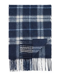 Bloomingdale's The Men's Store At Plaid Scarf Steel Blue Blue Haze