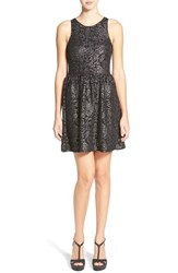 Junior Women's Frenchi Shimmer Jacquard Skater Dress