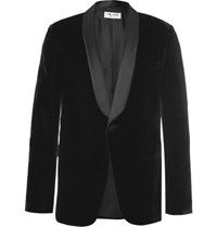 Saint Laurent Black Slim Fit Satin Trimmed Velvet Tuxedo Jacket Black