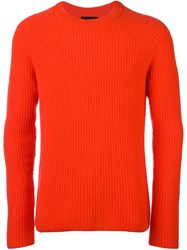 Joseph Cable Knit Crew Neck Jumper Red