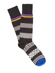 Paul Smith Polka Dot And Striped Cotton Blend Socks Black Multi