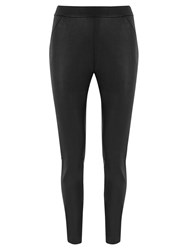 Mint Velvet Leather Look Jersey Leggings Black
