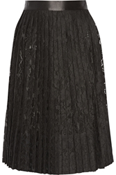 Givenchy Satin Trimmed Pleated Skirt In Black Lace