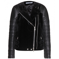 Givenchy Velvet Leather And Tweed Biker Jacket Black