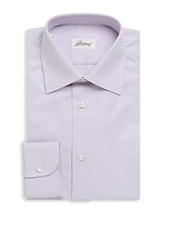 Brioni Striped Cotton Button Down Dress Shirt Purple