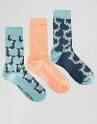 French Connection 3 Pack Print And Plain Socks Black Green Camo Multi