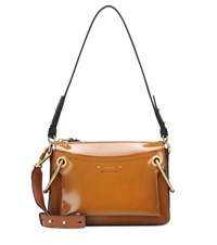 Chloe Roy Small Patent Leather Shoulder Bag Brown