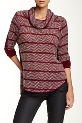 Paper Crane Long Sleeve Striped Cowl Neck Sweater Pink