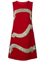 Dolce And Gabbana Front Print Shift Dress Red
