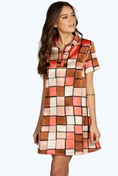 Boohoo Geo Short Sleeve Shirt Dress Chocolate
