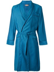 Otis Batterbee Petrol Herringbone Dressing Gown Blue