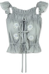 Innika Choo Embroidered Linen Top Gray