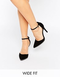 New Look Wide Fit Gold Trim Heeled Shoe Black
