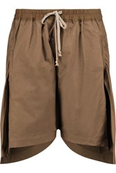 Rick Owens Asymmetric Cotton Shorts Light Brown