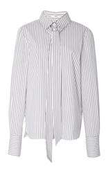 Tibi Stripe Tie Neck Shirt