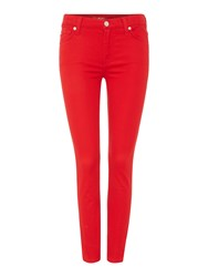 7 For All Mankind Ankle Skinny Rich Sateen Jean Red