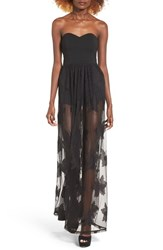 Leith Women's Strapless Lace Maxi Dress