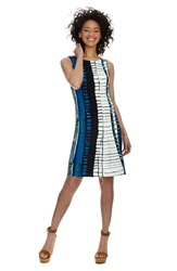 Donna Morgan Geometric Print Shift Dress Regular And Petite Indigo Multi