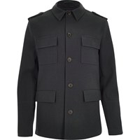 River Island Mens Dark Blue Four Pocket Military Coat