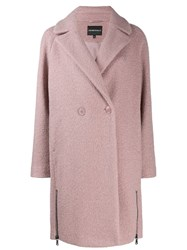 Emporio Armani Ea7 Double Breasted Coat Pink