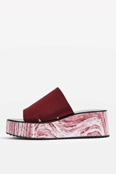 Topshop Dimple Marbled Wedges Burgundy