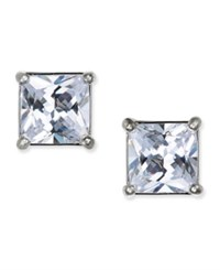 Charter Club Silver Tone Square Crystal Stud Earrings