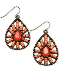 Macy's Gold Tone Beaded Medallion Teardrop Earrings Coral
