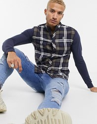 Sik Silk Siksilk Flannel Check Grandad Shirt Navy