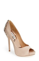 Badgley Mischka Women's 'Kiara' Crystal Back Open Toe Pump Latte Satin