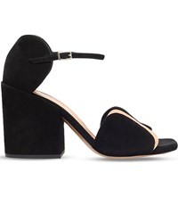 Dries Van Noten Circle Cut Suede And Leather Heeled Sandals Blk Other