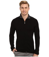 Dkny L S Rib Woven Full Zip Mock Neck Sweater Black Men's Sweater
