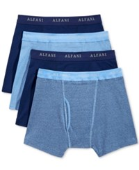 Alfani Men's 4 Pack. Cotton Boxer Briefs Only At Macy's Blue Assorted