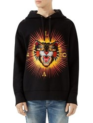 Gucci Cotton Sweatshirt With Angry Cat Applique Black