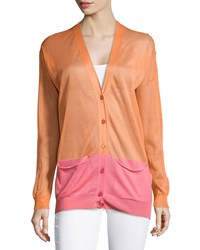Stella Mccartney Colorblock V Neck Cardigan Orange Pink