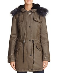 Laundry By Shelli Segal Faux Fur Trim Waxed Anorak Smokestone