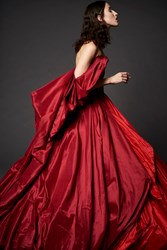 Zac Posen Open Shoulder Taffeta Gown Red