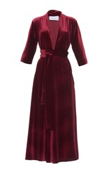 Luisa Beccaria Velvet Three Quarter Sleeve Midi Dress Red