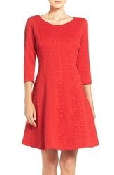 Taylor Dresses Women's Jacquard Knit Fit And Flare Dress