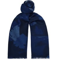 The Workers Club Printed Wool Flannel Scarf Navy