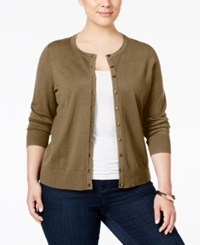 Charter Club Plus Size Long Sleeve Cardigan Only At Macy's Distressed Tan