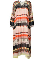 Apiece Apart Abstract Printed Long Dress Women Silk Rayon 4 Yellow Orange